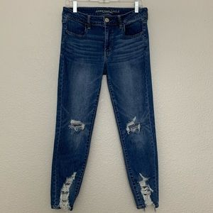American Eagle Distressed Jegging Crop Jeans 12